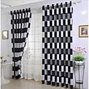Dvije zavjese Mediterranean Plaid/Check Crn / Boja kave Bedroom Polyester Blackout Zavjese Zavjese