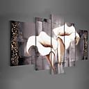 手描きの 花柄/植物の 任意の形状,クラシック Modern トラディショナル 5枚 キャンバス ハング塗装油絵 For ホームデコレーション
