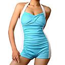 Ženski Bikini - Grudnjak na vezanje - Push-up - Na točkice / Zavoji - Poliester