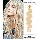 20 '' # 24 medium světlovlasá tělo vlna tip na nehty u prstů 100% remy vlasy keratin prodlužování vlasů-100 pramenů, 0,5 g / 0,8 g / 1G /