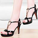 Ženske cipele-Sandale-Vjenčanje / Formalne prilike / Zabava i večer-Umjetna koža-Stiletto potpetica-Štikle-Crna / Ljubičasta