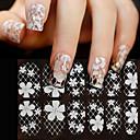 3d bílé krajky nail art drahokamu samolepky, 1sheet květinové plné krytí nehtové ozdoby