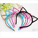 女性のための甘い猫の耳形の黒い綿ネルのヘッドバンド(黒、グレー)(1個)