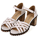 Women's Shoes Leatherette Chunky Heel Heels Sandals Outdoor / Casual Black / White