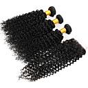 3ks svazky brazilský panna vlasy útek s 1ks krajkou uzávěrem nezpracované hluboko kudrnaté vlna # 1b vlasy