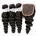 3 svazky peruánský panna vlasy útek volný průběh s 1ks bez součástí závěrečných krajka přírodních černých prodlužování vlasů