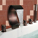Antikni Rimska kupelj Waterfall / Široki spary / Tuš uključen with  Keramičke ventila Dvije ručke pet rupa for  Oil-rubbed Bronze ,