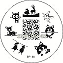 mačka jelena ovce nail art otiskivanje predložak slike Ploča rođen prilično bb # 59