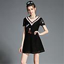 aofuli plus size žene odjeća elegantan modni vezene čipke dubokom V vrat-line haljina