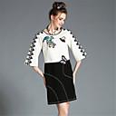 aofuli plus size žene jesen visoka vezene čipke crne bijele boje blok 3/4 rukav elegantna stranka haljina