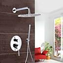 Suvremeni Zidne slavine Waterfall / Tuš s kišnim mlazom / Tuš uključen with  Brass ventila Jedan obrađuju tri rupe for  Chrome , Slavina