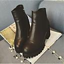 女性-アウトドア-PUレザー-チャンキーヒール-コンバットブーツ-ブーツ-ブラック
