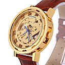 男性 スケルトン腕時計 / ファッションウォッチ / リストウォッチ / 機械式時計 自動巻き 透かし加工 本革 バンド ビンテージ / クール / カジュアルスーツ ブラック / ブラウン ブランド