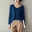 Women's Going out / Casual/Daily Sexy / Simple / Cute T-shirt,Solid V Neck Long Sleeve Blue / Brown Cotton / Polyester