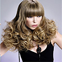 Medium Long Bottom Curly Wave Light Brown Color Synthetic Wigs for Women
