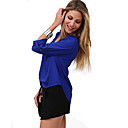 Women's Casual/Daily Simple Spring / Fall Shirt,Solid V Neck Long Sleeve Blue / Red / White / Black Polyester Medium