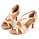 Obyčejné-Dámské-Taneční boty-Latina-Satén-Nízký podpatek-Zlatá