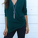 Majica s rukavima Žene,Jednostavno Ležerno/za svaki dan Jednobojni-Dugih rukava V izrez-Sva godišnja doba Plava / Crvena / Smeđa / Zelena