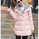 Dámské Standardní Dlouhý kabát Jednoduché Běžné/Denní Jednobarevné-Kabát Polyester Prachové kachní peří bílé Dlouhý rukáv Růžová / Černá