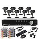 8-kanalni D1 Real Time H.264 600TVL visoke razlučivosti CCTV DVR Kit (8 Vodootporne dan noć CMOS kamera)