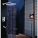 現代風 壁式 LED / サーモスタットタイプ / レインシャワー / ハンドシャワーは含まれている with  真鍮バルブ 二つのハンドル4つの穴 for  クロム , シャワー水栓
