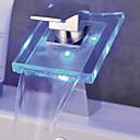 Současné Baterie na střed LED / Vodopád with  Keramický ventil Single Handle jeden otvor for  Pochromovaný , Koupelna Umyvadlová baterie