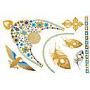 1ks zlaté a modré náhrdelník tetování nálepka 23x15.5cm