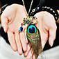 dámské páv peří diamant vintage náhrdelník