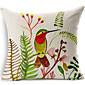 鳥と花のコットン/リネン装飾枕カバー