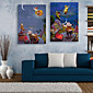 E-HOME® Stretched LED Canvas Print Art People Who Climb Up The Sky LED Flashing Optical Fiber Print Set of 2