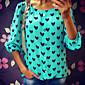 Camicia Da donna Con stampe Rotonda Manica lunga Chiffon