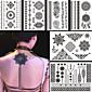 6pcs crna lažni vodootporan tetovaža tetovaža za žene body art cvijet ogrlica nakit naljepnica poklon