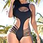 Ženski Bikini-Grudnjak na vezanje-Push-up-Jednobojni-Poliester