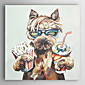 ručně malované olejomalba zvířat nápoj koks a jíst popcorn psy s nataženém rámu 7 stěny arts®