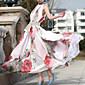 Ženska cvjetni ružičastoj haljini, berba / maxi stajati Ruff ogrlica bez rukava jeku