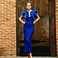 Dámské Vintage Jdeme ven Pouzdro Šaty Jednobarevné,Bez rukávů Kulatý Maxi Modrá / Červená / Černá Polyester Léto High Rise Neelastické