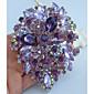 dámská módní slitina stříbra tón fialové kamínky crystal flower brož pin