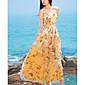 Dámské Plážové Swing Šaty Květinový,Bez rukávů Do V Maxi Hedvábí Léto Mid Rise Lehce elastické Tenké