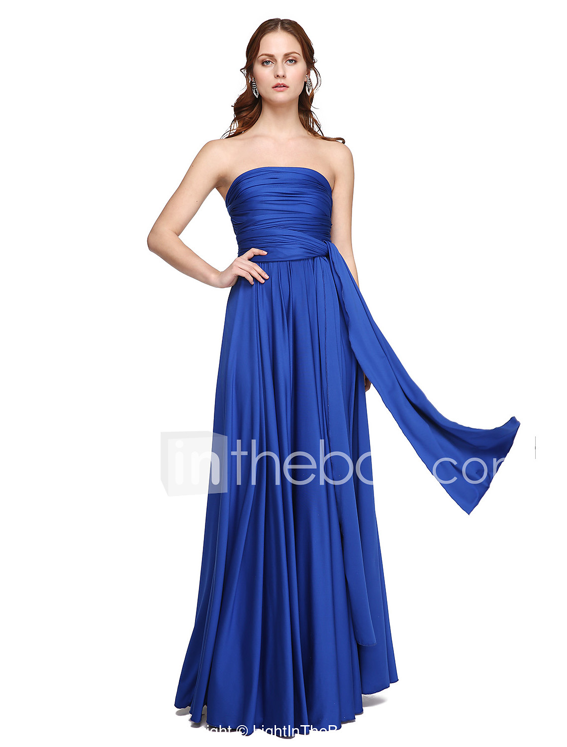 And ice silver bridesmaid dress if it was navy blue and ice silver - A Line Strapless One Shoulder V Neck Floor Length Jersey Bridesmaid Dress With Pleats